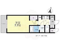 S-RESIDENCE三国WEST 7階1Kの間取り