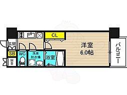 JR東西線 海老江駅 徒歩7分の賃貸マンション 2階1Kの間取り