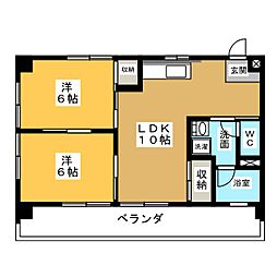 津島サンハイツ[4階]の間取り