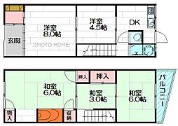 [テラスハウス] 大阪府吹田市千里山月が丘 の賃貸【/】の間取り