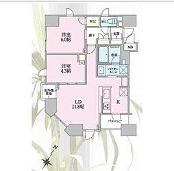 東京メトロ有楽町線 新富町駅 徒歩3分の賃貸マンション 10階2LDKの間取り