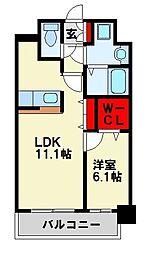 福岡県北九州市八幡西区西折尾町の賃貸マンションの間取り