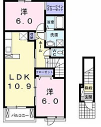 神奈川県川崎市麻生区下麻生2丁目の賃貸アパートの間取り