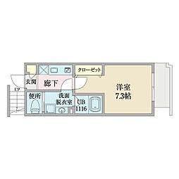 Rester小石川(レスター小石川) 3階1Kの間取り