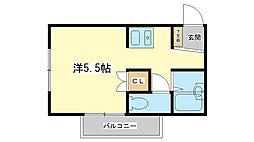 兵庫県姫路市新在家本町2丁目の賃貸マンションの間取り