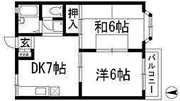 兵庫県川西市萩原2丁目の賃貸アパートの間取り