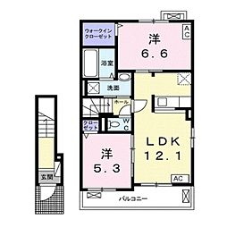 バス 福祉健康センター下車 徒歩5分の賃貸アパート 2階2LDKの間取り