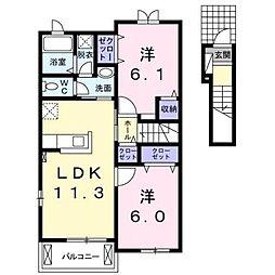 カークA棟[2階]の間取り