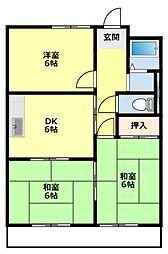 愛知県豊田市山之手7丁目の賃貸アパートの間取り