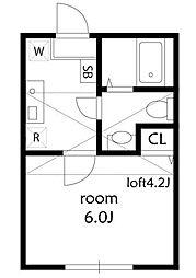 ブリスピア 2階1Kの間取り