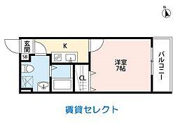 シャインフィールド 松戸(シャインフィールドマツド) 2階1Kの間取り