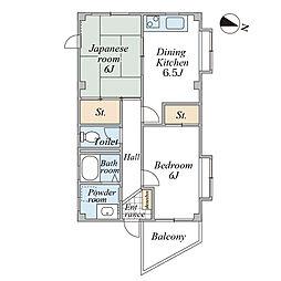 松木マンション[2階]の間取り