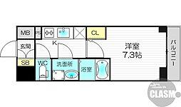 プランドール新大阪PARKレジデンス 6階1Kの間取り