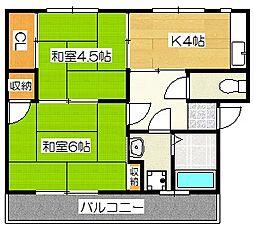 大坪飯田ビルB[1階]の間取り