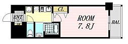 プランドール新大阪SOUTHレジデンス 9階1Kの間取り