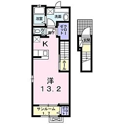 JR東北本線 日和田駅 徒歩1分の賃貸アパート 2階1Kの間取り
