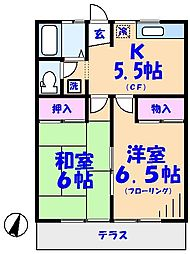 松ヶ丘ハイツ[201号室]の間取り