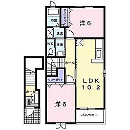 ソレイユII 2階2LDKの間取り