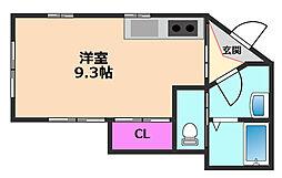 桜井一丁目貸家 1階ワンルームの間取り