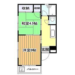 シャトー福原[1階]の間取り