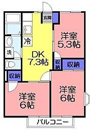 フローラル萩原[2階]の間取り