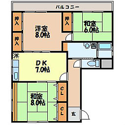 長崎県長崎市本原町の賃貸マンションの間取り