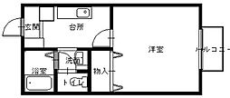 JR長崎本線 長与駅 徒歩16分の賃貸アパート 1階1Kの間取り