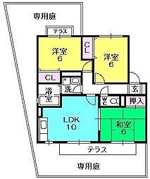 サニーコート香枦園[101号室]の間取り