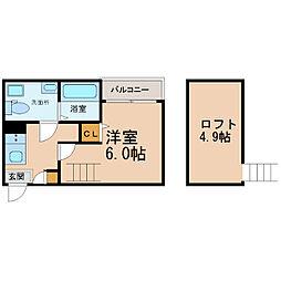 名古屋市営鶴舞線 平針駅 徒歩9分の賃貸アパート 1階1SKの間取り