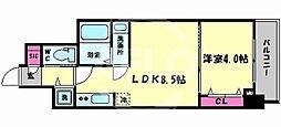 レオンコンフォート谷町九丁目 2階1LDKの間取り