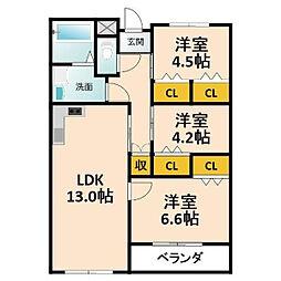大阪府枚方市東中振1丁目の賃貸マンションの間取り