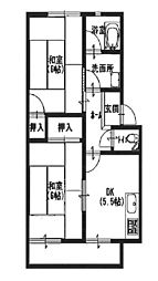 兵庫県姫路市延末の賃貸マンションの間取り