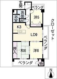 JINハイツ富田浜[5階]の間取り