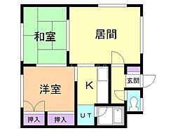 小室マンション 2 2階2DKの間取り