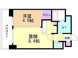小泉マンション メム19 3階1LDKの間取り
