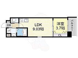 おおさか東線 南吹田駅 徒歩7分の賃貸マンション 9階1LDKの間取り