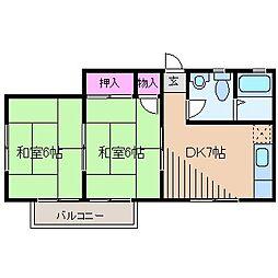 神奈川県横浜市港北区富士塚1丁目の賃貸アパートの間取り