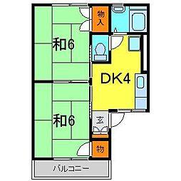 ハウスJJ・B棟[0203号室]の間取り