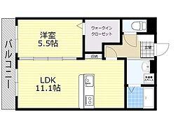 (仮)ユーミー日岡 3階1LDKの間取り