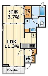 神奈川県大和市深見台1丁目の賃貸アパートの間取り