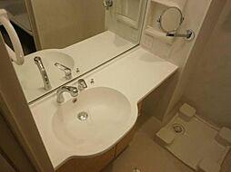 ベイサイドテラス ANNEX Bの広々洗面台にはメイクに便利な拡大鏡も付いています。