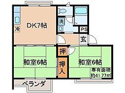 京都府宇治市宇治半白の賃貸アパートの間取り