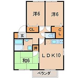 福島県福島市腰浜町の賃貸アパートの間取り