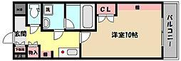 阪神本線 御影駅 徒歩10分の賃貸マンション 3階1Kの間取り