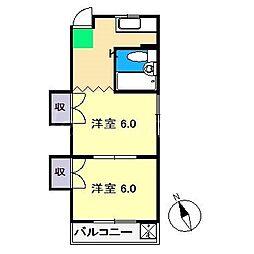 コーポなんごく[3階]の間取り