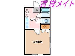 第3シャトーナツヤマ[2階]の間取り