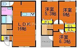 [一戸建] 岡山県岡山市北区高柳西町丁目なし の賃貸【/】の間取り
