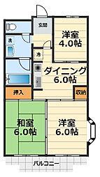 神奈川県大和市深見東1丁目の賃貸マンションの間取り
