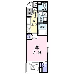 JR山陽本線 倉敷駅 徒歩22分の賃貸マンション 2階1Kの間取り