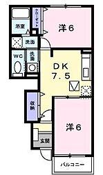 香川県丸亀市中津町の賃貸アパートの間取り